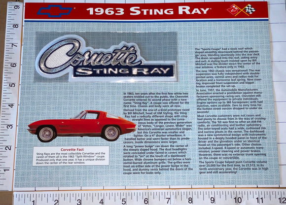 1963 CORVETTE STING RAY CHEVROLET WILLABEE & WARD SPEC SHEET EMBLEM PATCH
