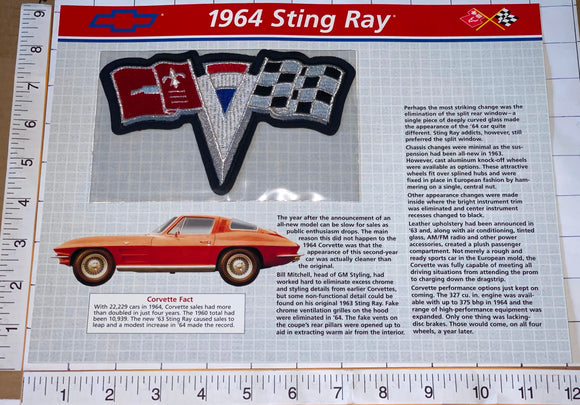 1964 CORVETTE STING RAY CHEVROLET WILLABEE & WARD SPEC SHEET EMBLEM PATCH