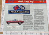 1966 CORVETTE STING RAY 427 TURBO-JET WILLABEE & WARD SPEC SHEET EMBLEM PATCH