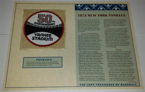 1973 NEW YORK YANKEES 50TH ANNIVERSARY MLB BASEBALL WILLABEE & WARD EMBLEM PATCH