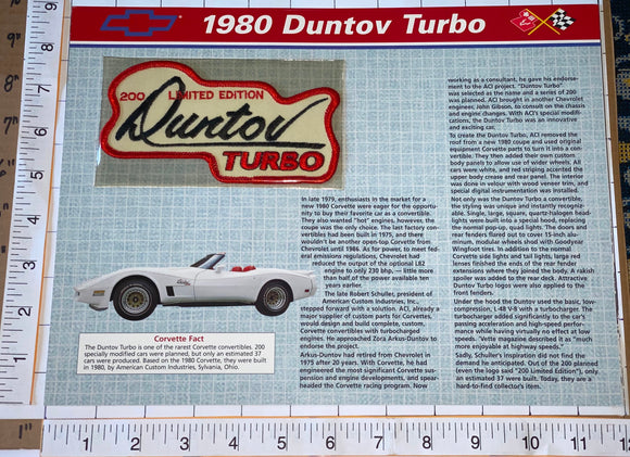 1980 CORVETTE DUNTOV TURBO OFFICIAL WILLABEE & WARD STAT SHEET EMBLEM PATCH