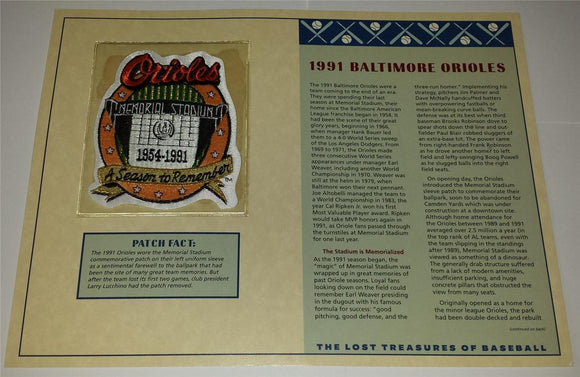 1991 BALTIMORE ORIOLES OFFICIAL MLB WILLABEE & WARD EMBELM MLB MEMORIAL PATCH