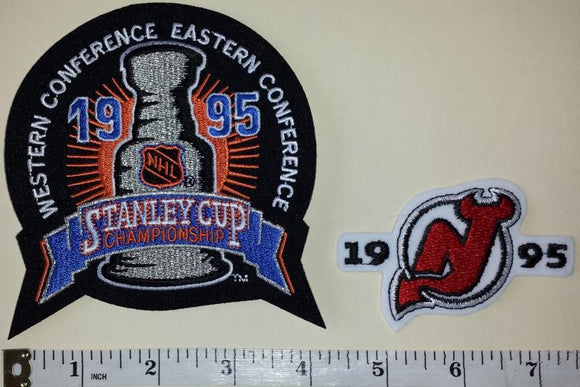 2 NEW JERSEY DEVILS 1995 STANLEY CUP CHAMPIONS NHL HOCKEY EMBLEM CREST PATCH LOT
