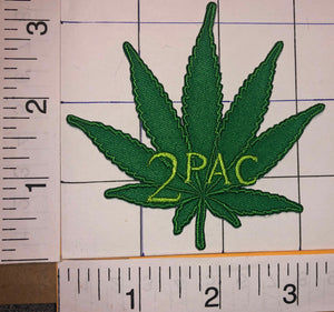 1 TUPAC SHAKUR 2PAC MARIJUANA LEAF RAP HIP HOP AMERICAN RAPPER MUSIC CREST PATCH