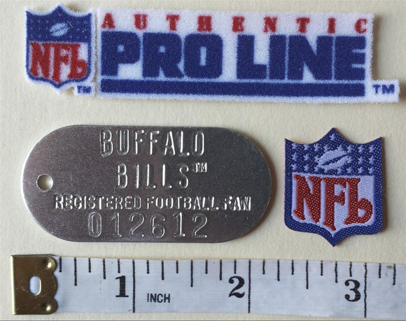 BUFFALO BILLS NFL FOOTBALL DOG TAG + 2 PATCH LOT