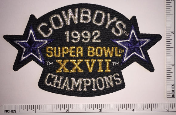 1992 DALLAS COWBOYS SUPER BOWL 27 XXVII CHAMPIONS NFL FOOTBALL PATCH