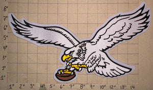 "1 HUGE 14"" WHITE EAGLE JACKET PATCH PHILADELPHIA EAGLES NFL FOOTBALL PATCH"