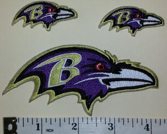 3 BALTIMORE RAVENS LOGO NFL FOOTBALL JERSEY PATCH LOT