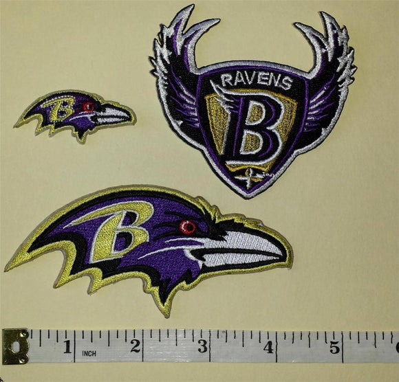 3 BALTIMORE RAVENS  NFL FOOTBALL JERSEY PATCH LOT