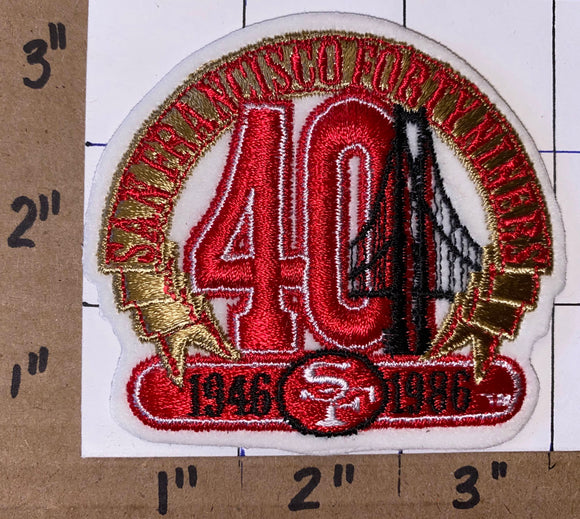 SAN FRANCISCO 49ERS 40TH ANNIVERSARY 3 INCH NFL FOOTBALL PATCH