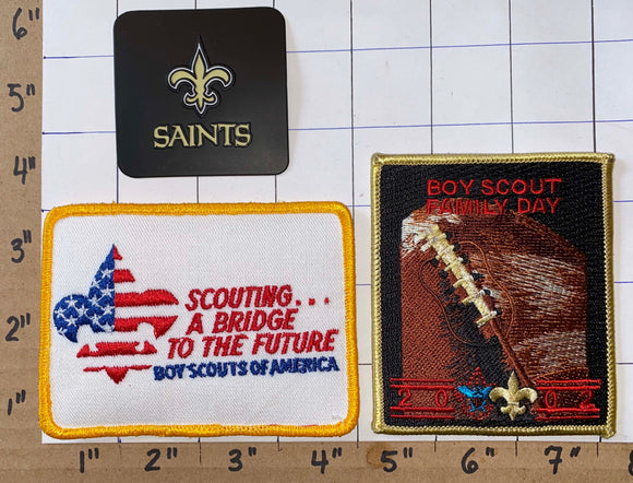 3 NEW ORLEANS SAINTS 2002 BOY SCOUT FAMILY DAY NFL FOOTBALL  PATCH LOT