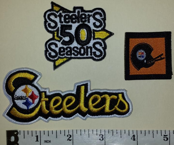 3 PITTSBURGH STEELERS  50TH ANNIVERSARY NFL FOOTBALL PATCH LOT