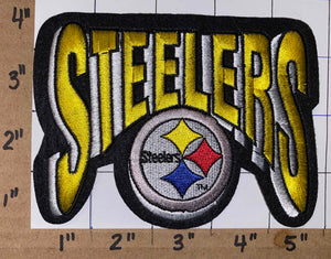 "1 PITTSBURGH STEELERS 5"" SCRIPT NFL FOOTBALL PATCH"