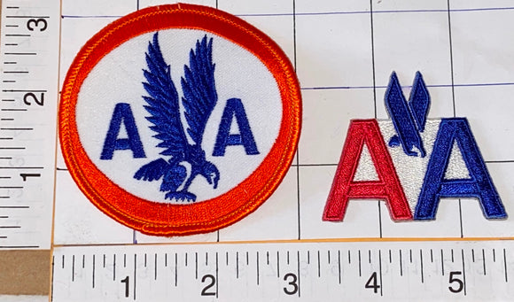 2 AMERICAN AIRLINES AVIATION STEWARDESS PILOT AIRLINE AA CREST EMBLEM PATCH LOT