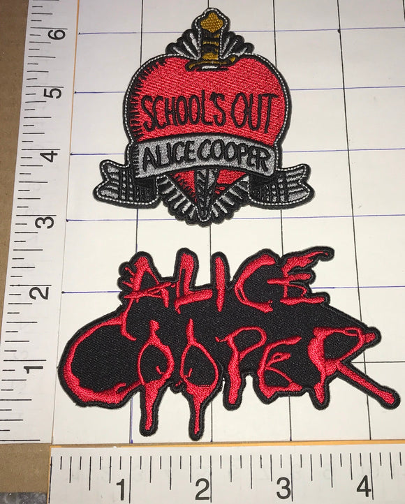 2 ALICE COOPER SCHOOL'S OUT ROCK MUSIC SINGER SONGWRITER CREST PATCH LOT