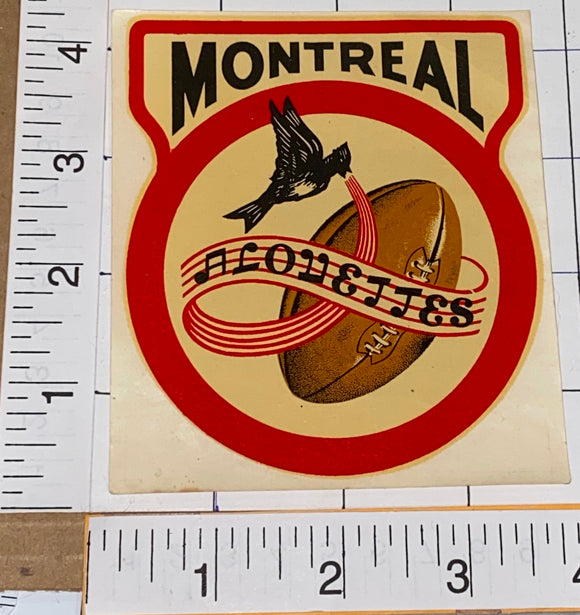 1 RARE VINTAGE MONTREAL ALOUETTES CFL FOOTBALL AUTOMOBILE AUTO DECAL