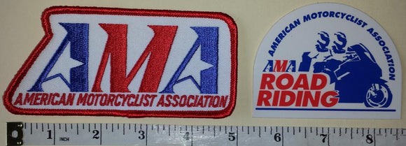 2 AMA ROAD RIDING RIDER AMERICAN MOTORCYCLIST ASSOCIATION EMBLEM PATCH LOT