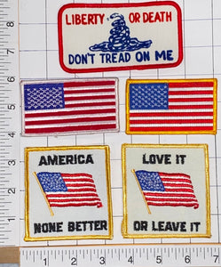 5 USA AMERICA LOVE IT OR LEAVE IT DON'T THREAD ON ME USA OF A LIBERTY PATCH LOT
