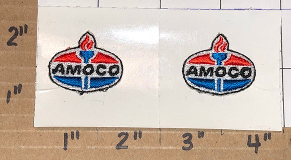 2 RARE AMOCO GAS STATION PUMP OIL PETROLEUM DRIVER EMPLOYEE CREST PATCH LOT