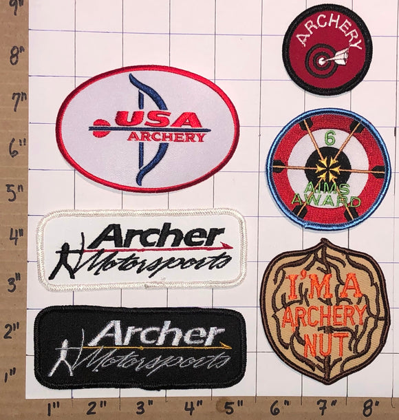 6 ARCHER MOTORSPORTS ARCHERY NUT EMBLEM CREST PATCH LOT