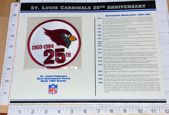 ST. LOUIS CARDINALS 25TH ANNIVERSARY NFL FOOTBALL WILLABEE & WARD STAT & PATCH