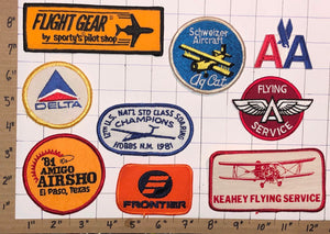 DELTA AA AMERICAN AIRLINES FRONTIER FLYING A SERVICE AIRCRAFT PATCH LOT