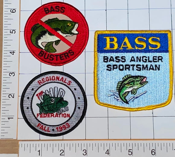 3 BASS ANGLER FISHING FISHERMAN SPORTSMAN LURE HOG BUSTERS REGIONALS PATCH LOT