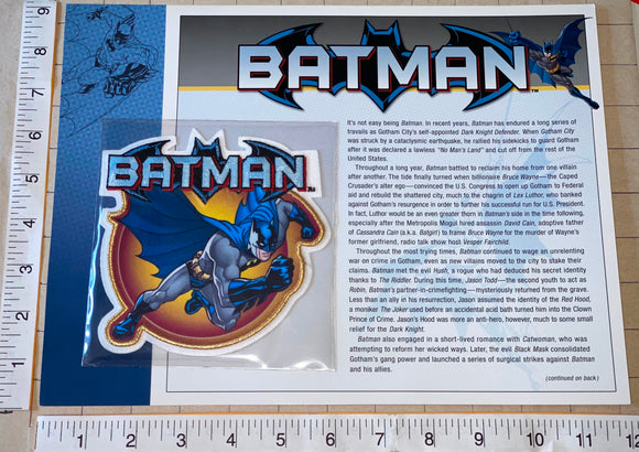 1 BATMAN SUPERHERO CRIME FIGHTER DC COMICS GOTHAM CITY WILLABEE & WARD PATCH