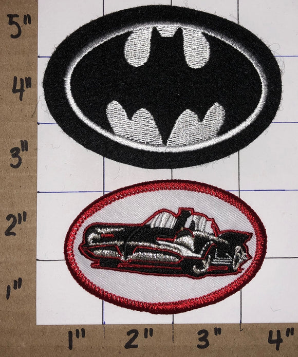 BATMAN & THE BATMOBILE THE MOVIE DC COMICS SUPERHERO CREST PATCH LOT