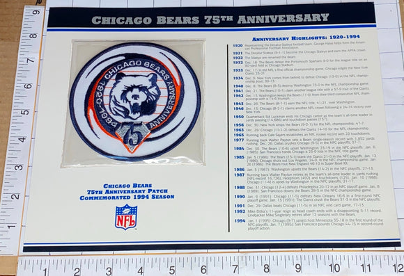 CHICAGO BEARS 75TH ANNIVERSARY NFL FOOTBALL WILLABEE & WARD STAT & PATCH