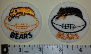 2 VINTAGE CHICAGO BEARS 2 inch NFL FOOTBALL CREST FELT PATCH LOT