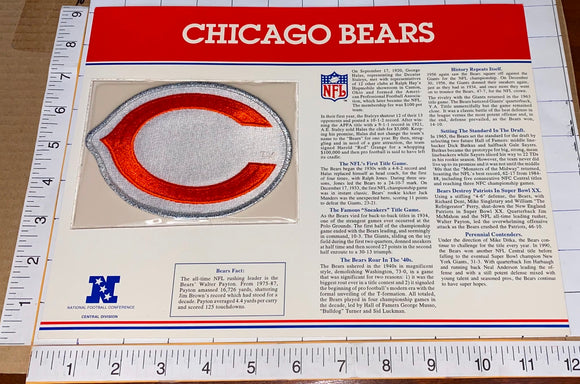 CHICAGO BEARS NFL FOOTBALL TEAM EMBLEM WILLABEE & WARD INFO STAT & PATCH