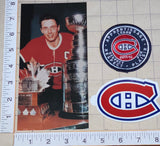 JEAN BELIVEAU MONTREAL CANADIENS NHL HOCKEY POSTCARD DECAL PATCH LOT