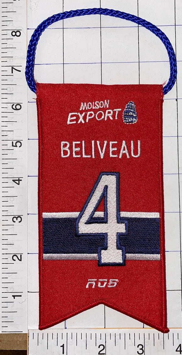 JEAN BELIVEAU MONTREAL CANADIENS #4 RETIREMENT BANNER NHL HOCKEY RDS MOLSON