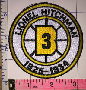BOSTON BRUINS LIONEL HITCHMAN #3 RETIREMENT 1925-1934 NHL HOCKEY EMBLEM PATCH
