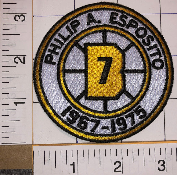 BOSTON BRUINS PHIL ESPOSITO #7 RETIREMENT 1967-1975 NHL HOCKEY EMBLEM PATCH