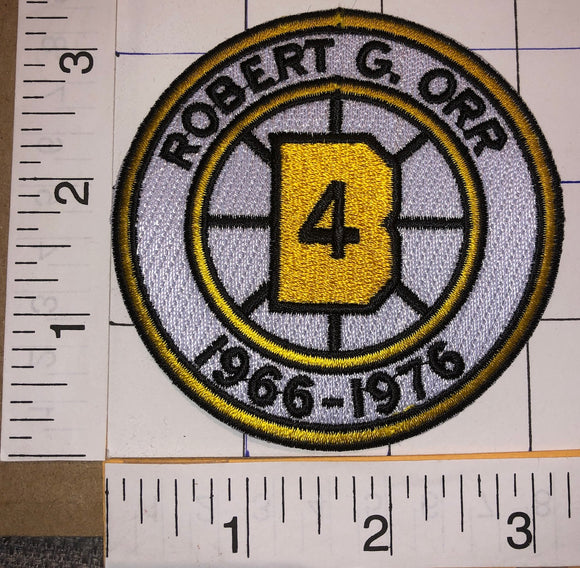 BOSTON BRUINS BOBBY ORR #4 RETIREMENT 1966-1976 NHL HOCKEY EMBLEM PATCH