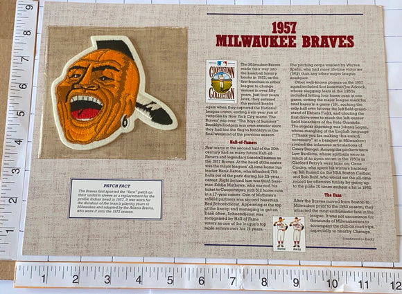 1957 MILWAUKEE BRAVES MLB BASEBALL WILLABEE & WARD COOPERSTOWN PATCH