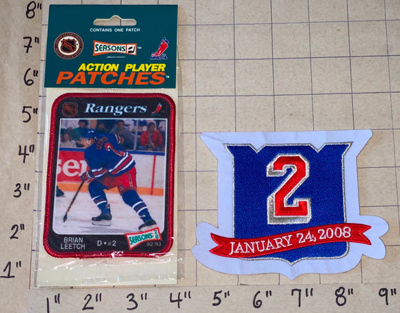 2 RARE BRIAN LEETCH RETIREMENT NEW YORK RANGERS NHL ACTION PLAYER PATCH LOT