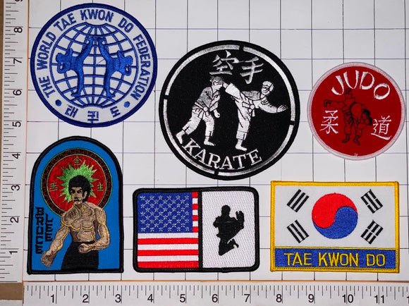 6 BRUCE LEE KARATE JUDO TAE KWON DO FEDERATION KOREAN MARTIAL ARTS COMBAT PATCH