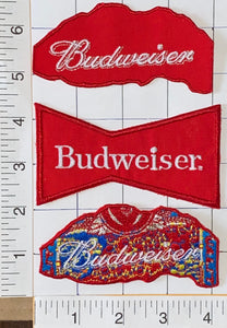 3 BUDWEISER GENUINE LAGER BEERS BEER BREWERY ANHEISER-BUSCH EMBLEM PATCH LOT