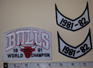 3 CHICAGO BULLS 1991 & 1981 NBA BASKETBALL CHAMPIONS CREST PATCH LOT