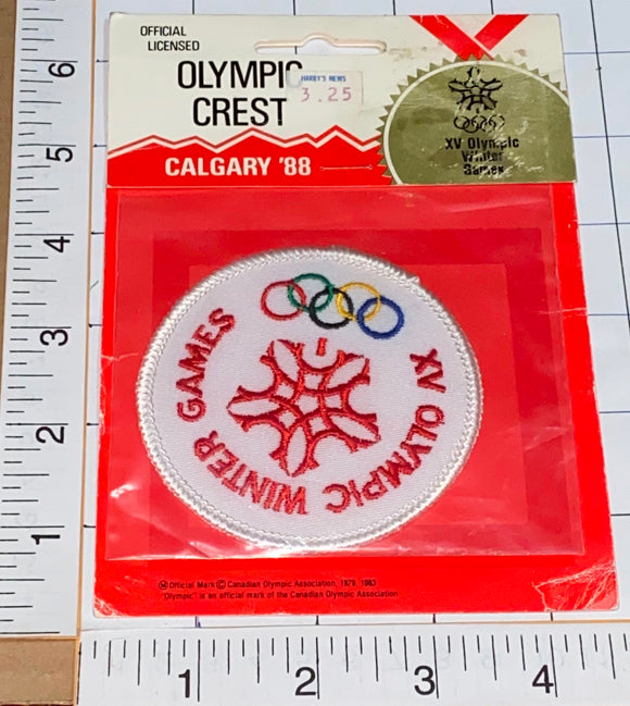 VINTAGE OFFICIAL 1988 CALGARY WINTER OLYMPICS CANADA EMBLEM CREST PATCH MIP