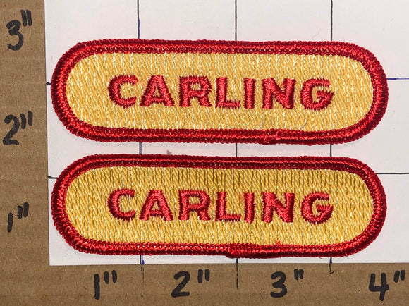 2 RARE VINTAGE CARLING BEER BREWERY ALCOHOLIC BEVERAGE CREST PATCH LOT