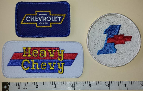 3 CHEVROLET HEAVY CHEVY #1 TRUCKS AUTOMOBILE SUV CAR CREST EMBLEM PATCH LOT