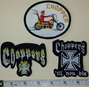 3 RARE CHOPPERS TIL YOU DIE CREST EMBLEM PATCH LOT