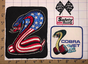 4 FORD SHELBY COBRA MUSCLE CAR COBRA JET EMBLEM PATCH LOT