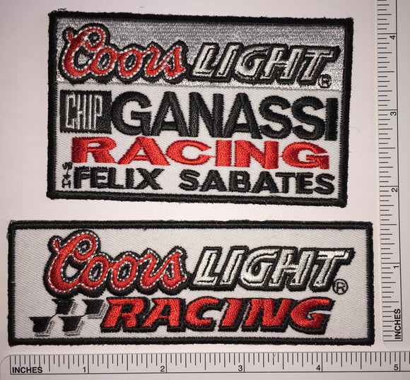 2 COORS LIGHT RACING CHIP GANASSI BREWING BEER BREWERY FELIX SABATES PATCH LOT