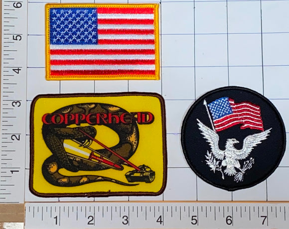 3 COPPERHEAD UNITED STATES OF AMERICA US MARINE CORPS ARMY CREST PATCH LOT