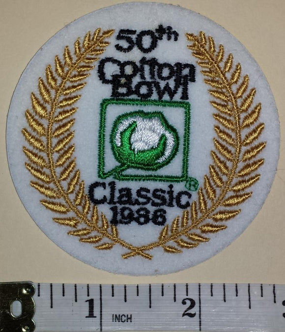 1986 COTTON BOWL CLASSIC 50TH ANNIVERSARY NCAA FOOTBALL BOWL CREST EMBLEM PATCH